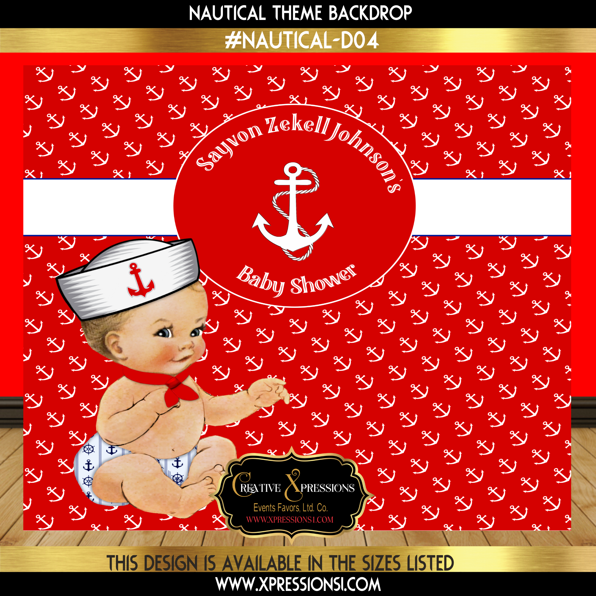 Sailor Baby Boy Baby Shower Backdrop
