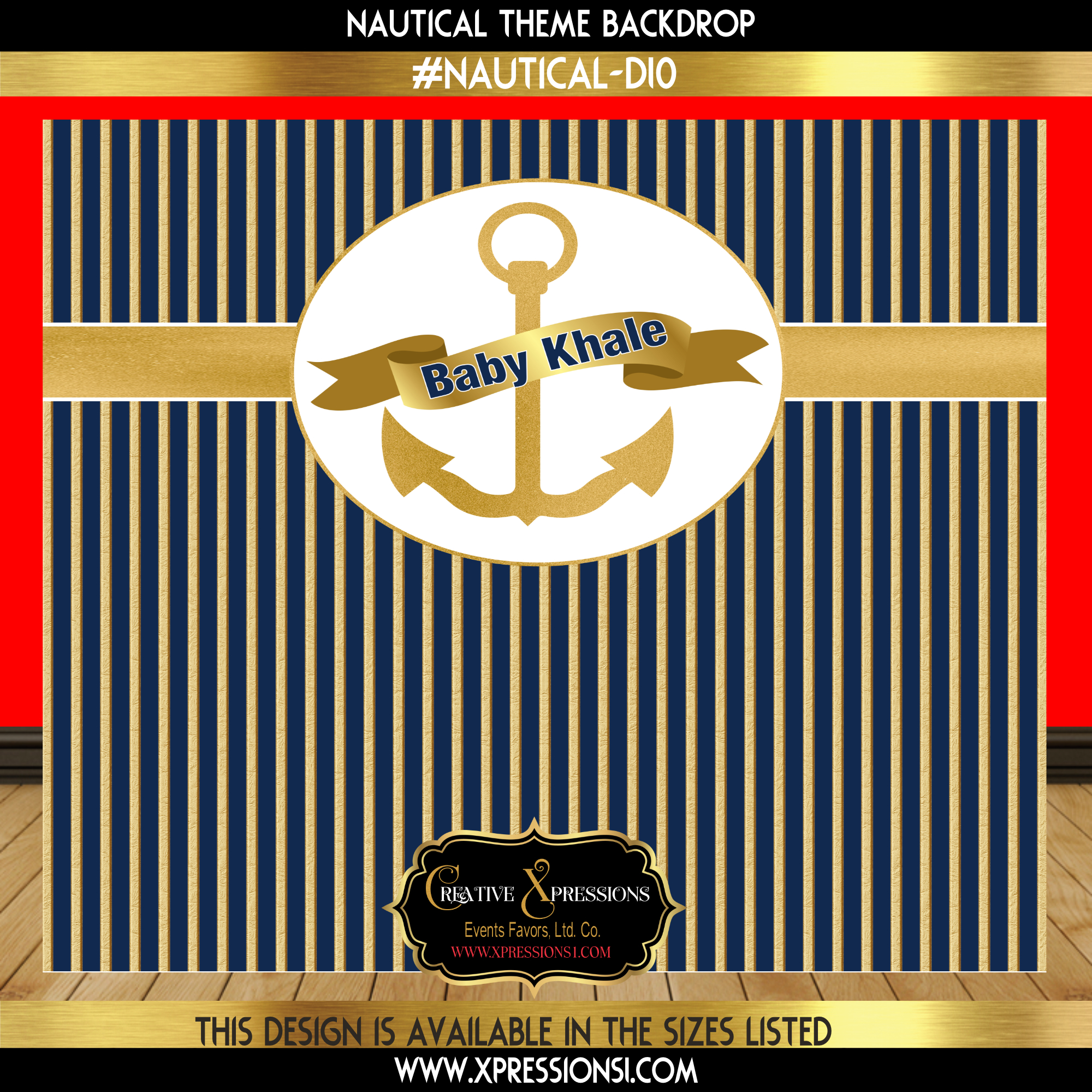 Blue with Gold Stripes Baby Shower Backdrop