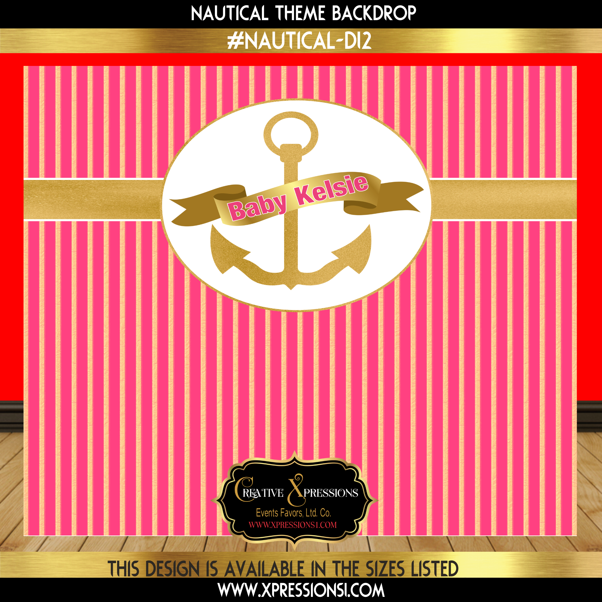 Pink with Gold Stripes Baby Shower Backdrop
