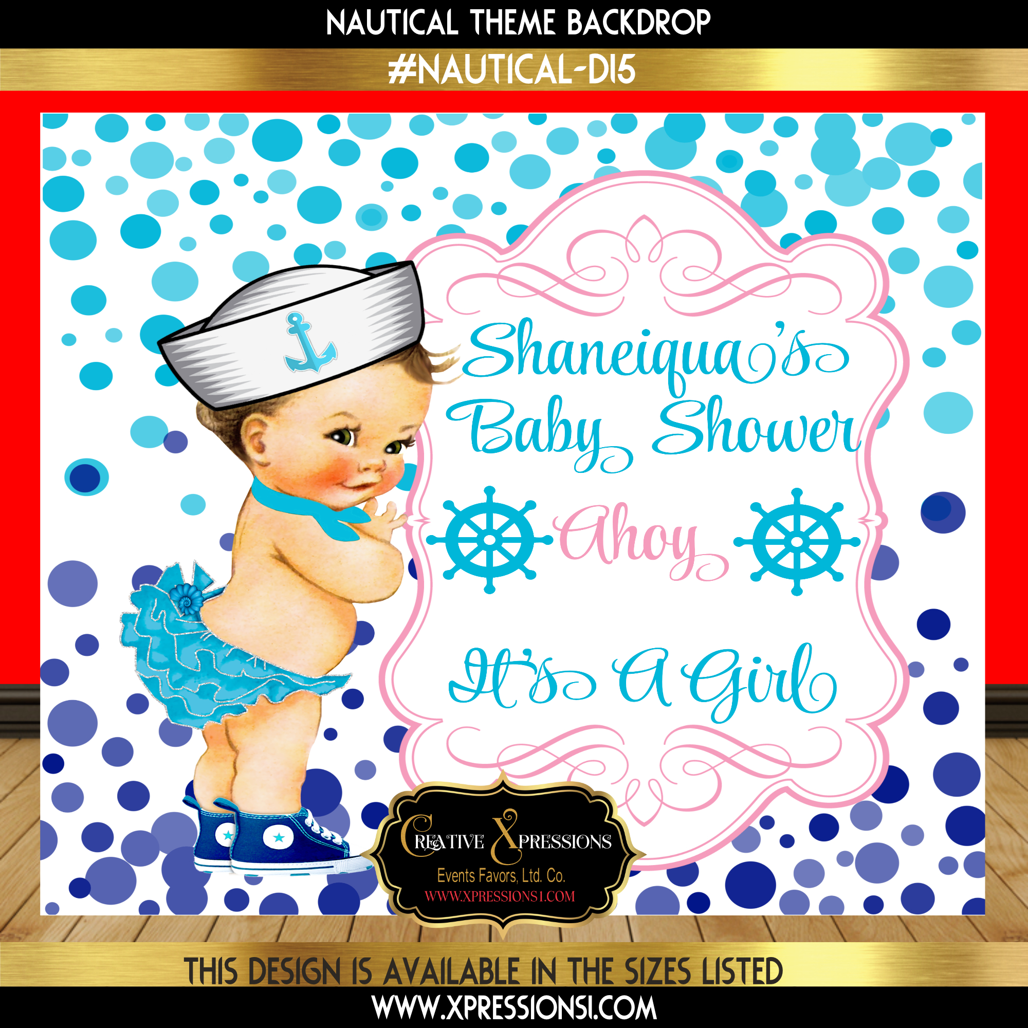 Sailor Girl Baby Shower Backdrop