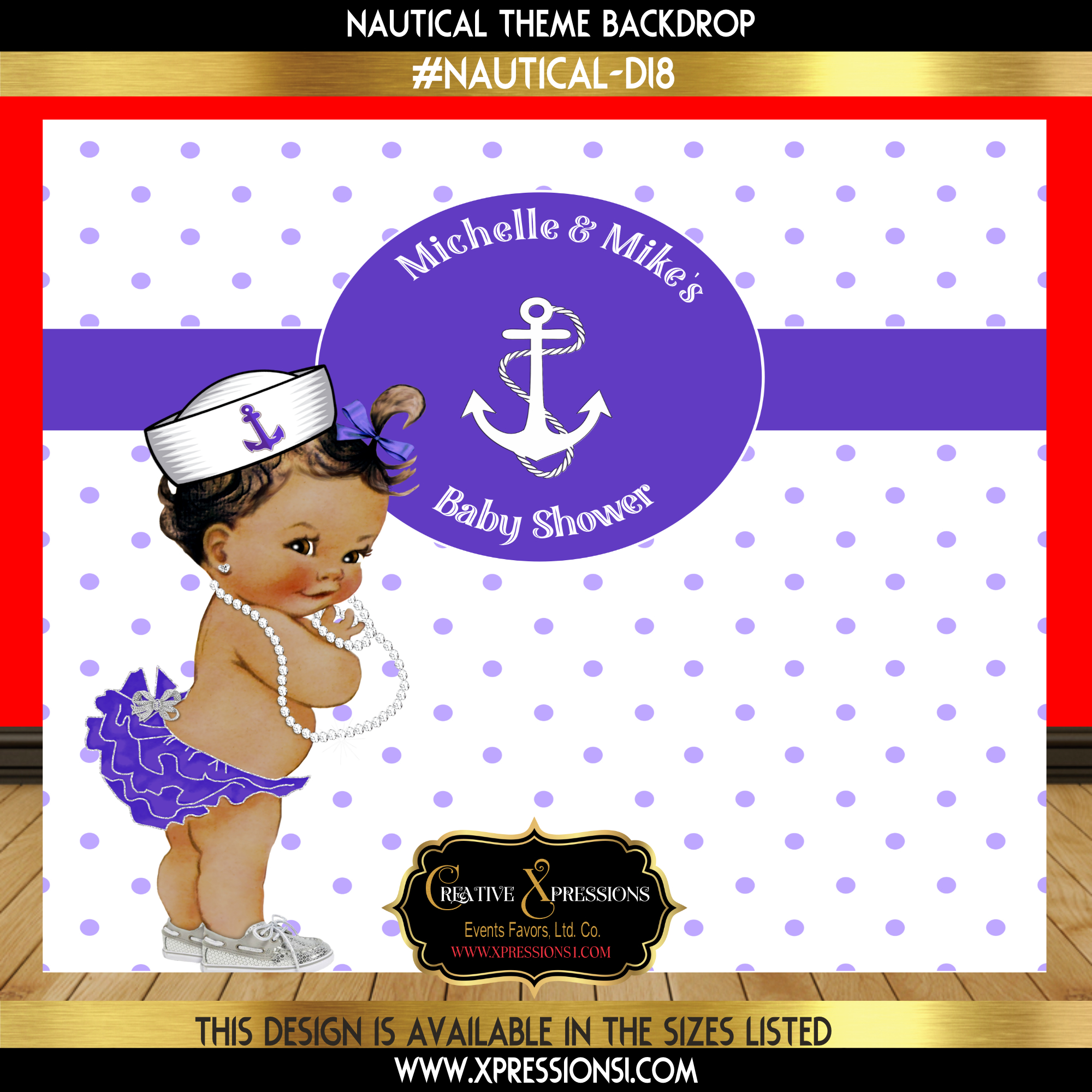 Sailor Girl in Purple Baby Shower Backdrop