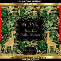Tropical Forest Baby Shower Backdrop