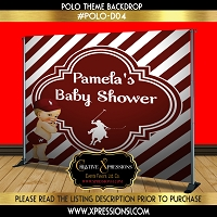 Polo Prince in Burgundy Baby Shower Backdrop