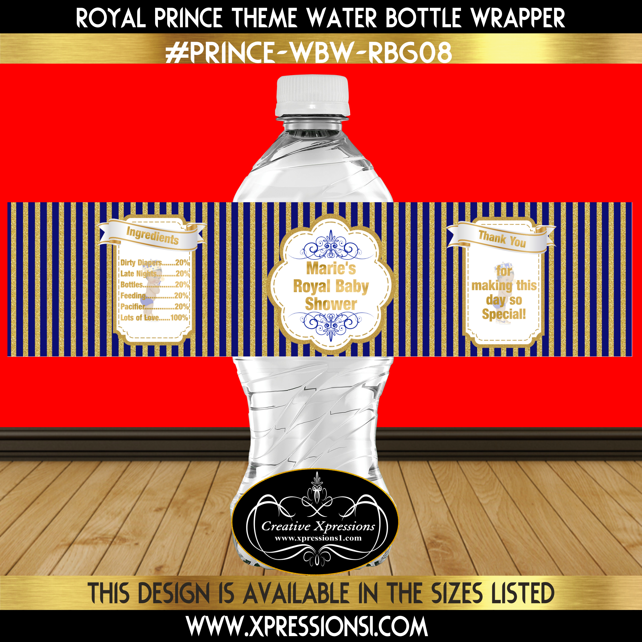 Blue and Gold Stripes Water Bottle Wrapper