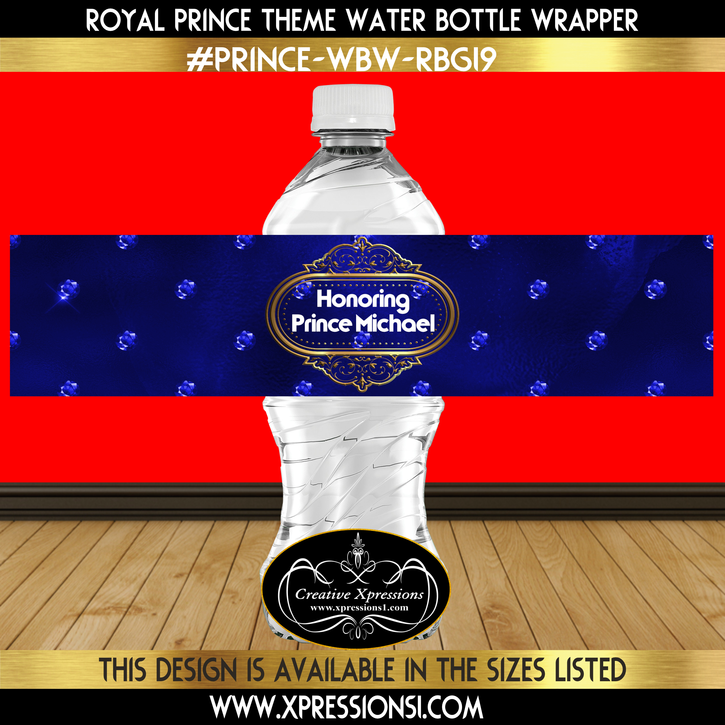 Blue Diamonds Water Bottle Wrapper