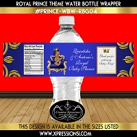 Prince on Royal Throne Water Bottle Wrapper