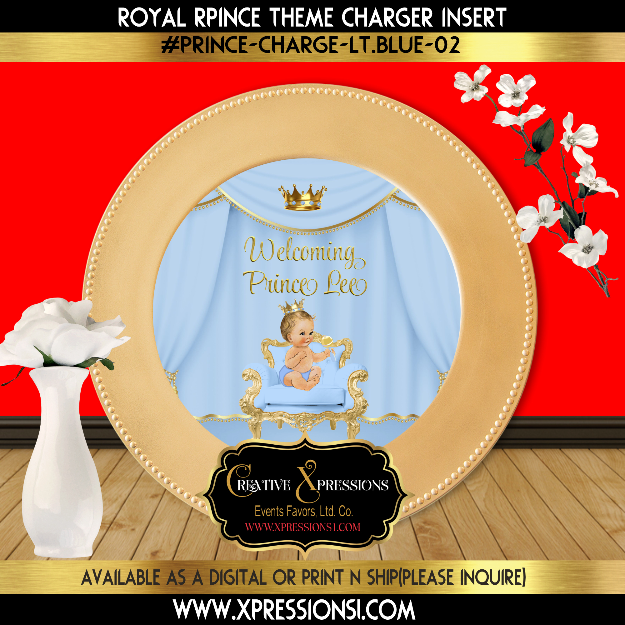 Prince with Royal Crown Charger Insert