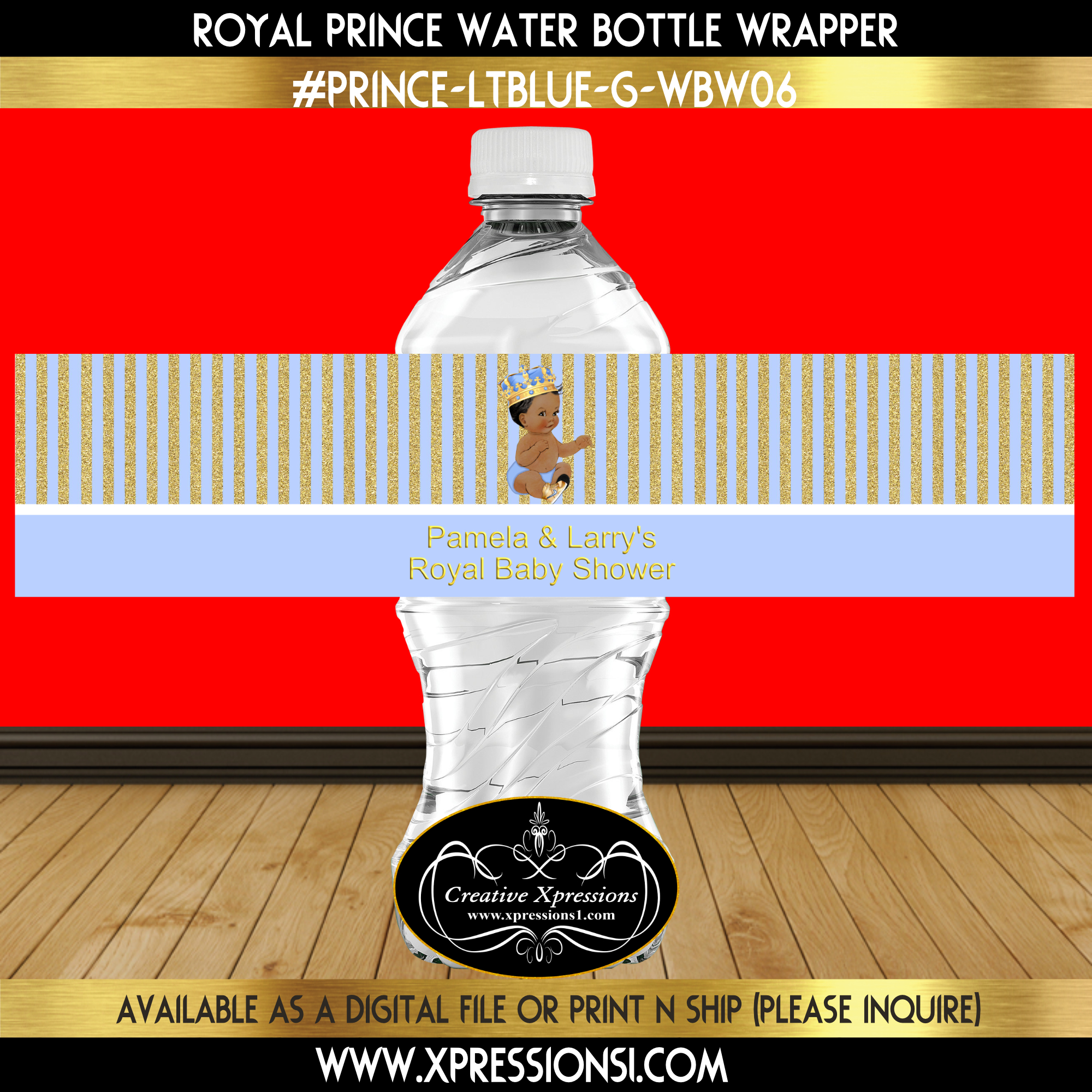 Prince with Ornate Crown Water Bottle Wrapper