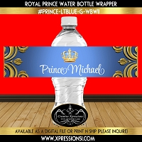 Ornate Crown on Blue Water Bottle Wrapper