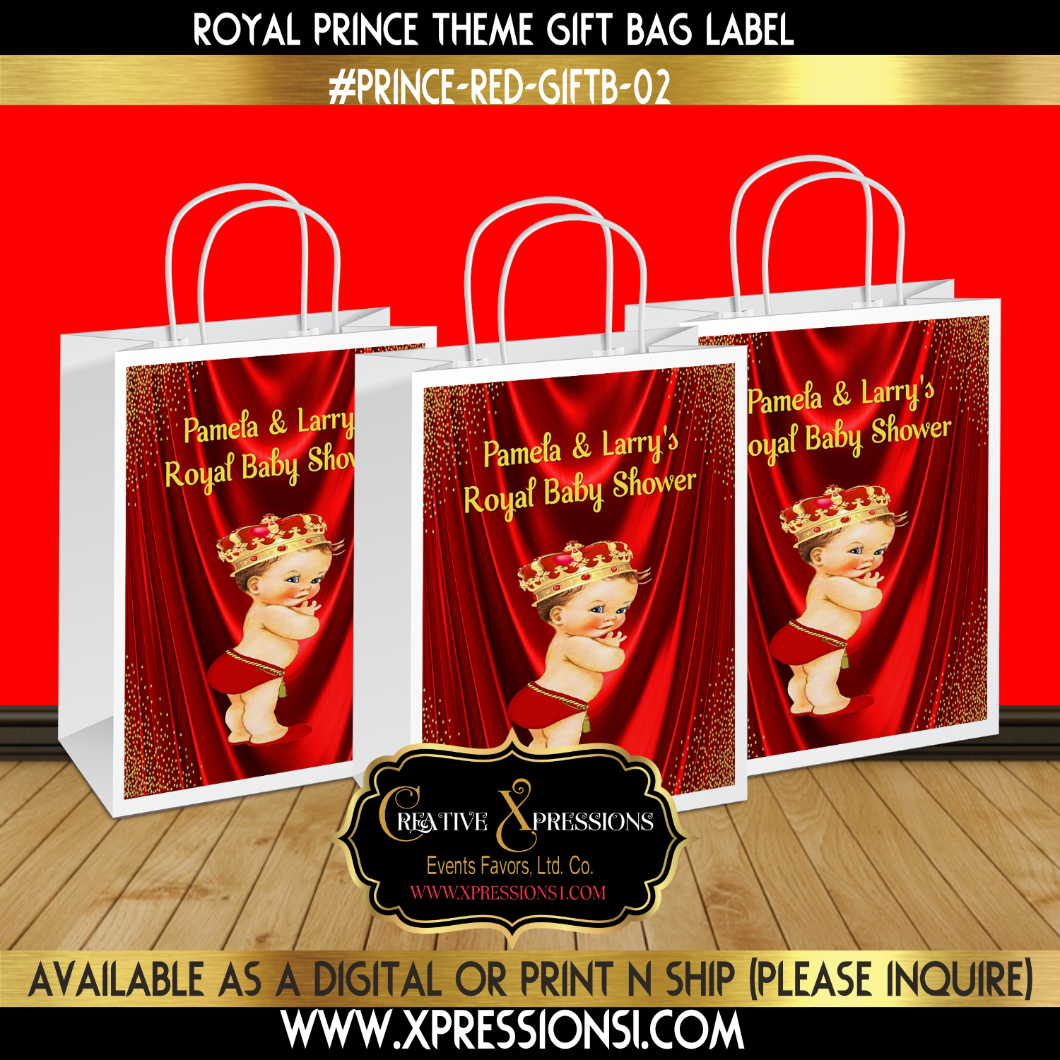 Royal Prince Glitter Corner Gift Bag