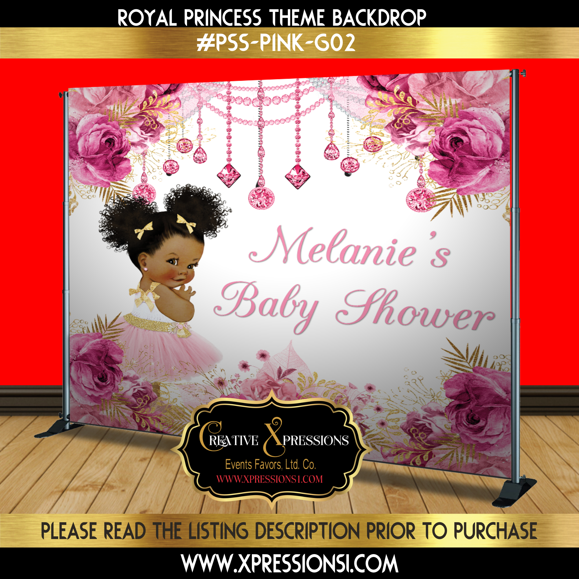 Princess Florals Baby Shower Backdrop