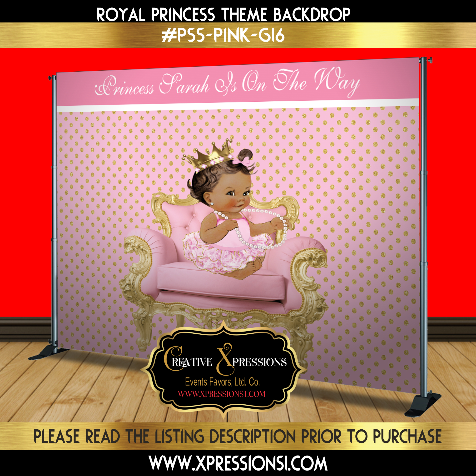 Princess on Polka Dots Backdrop