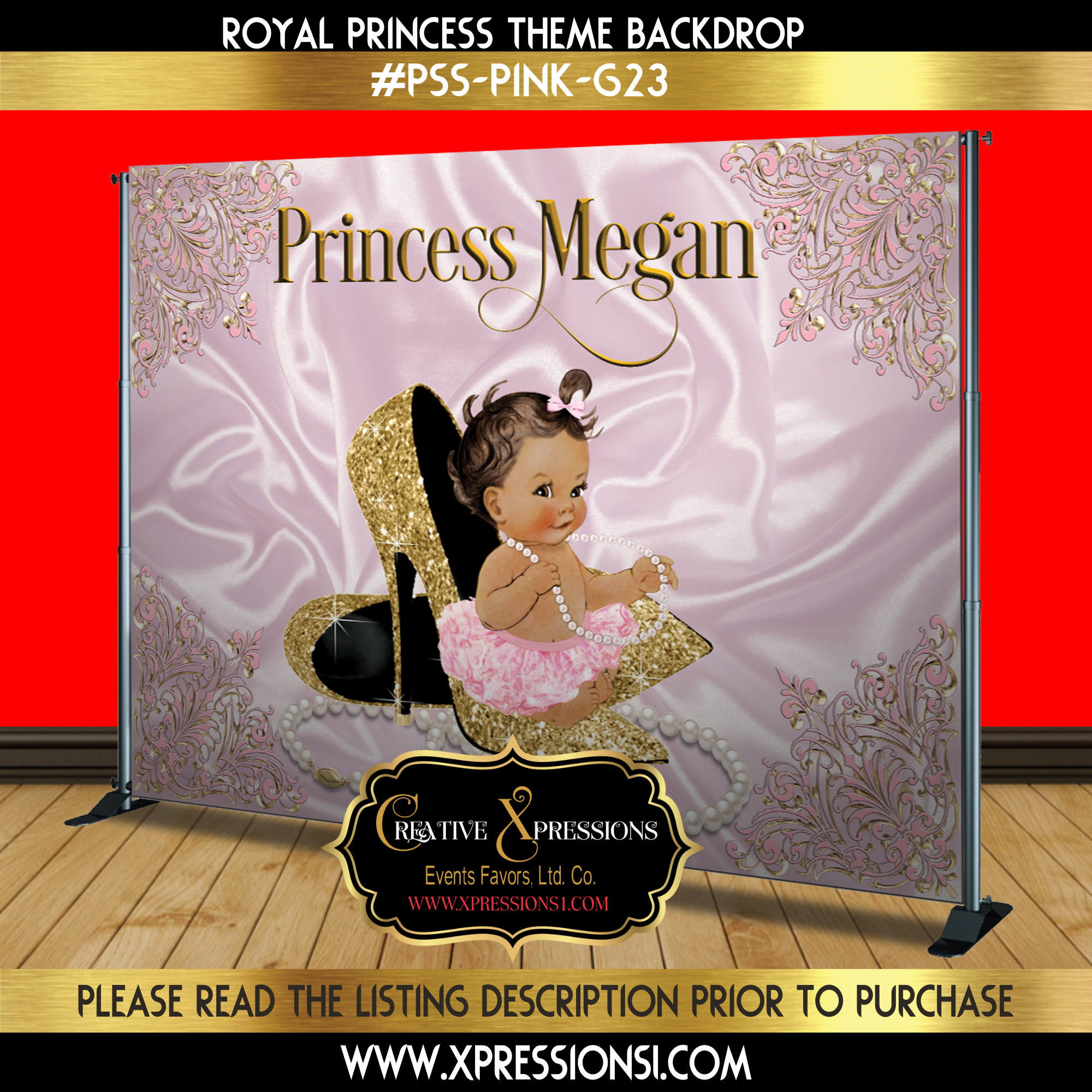 Princess on Gold Heels Backdrop