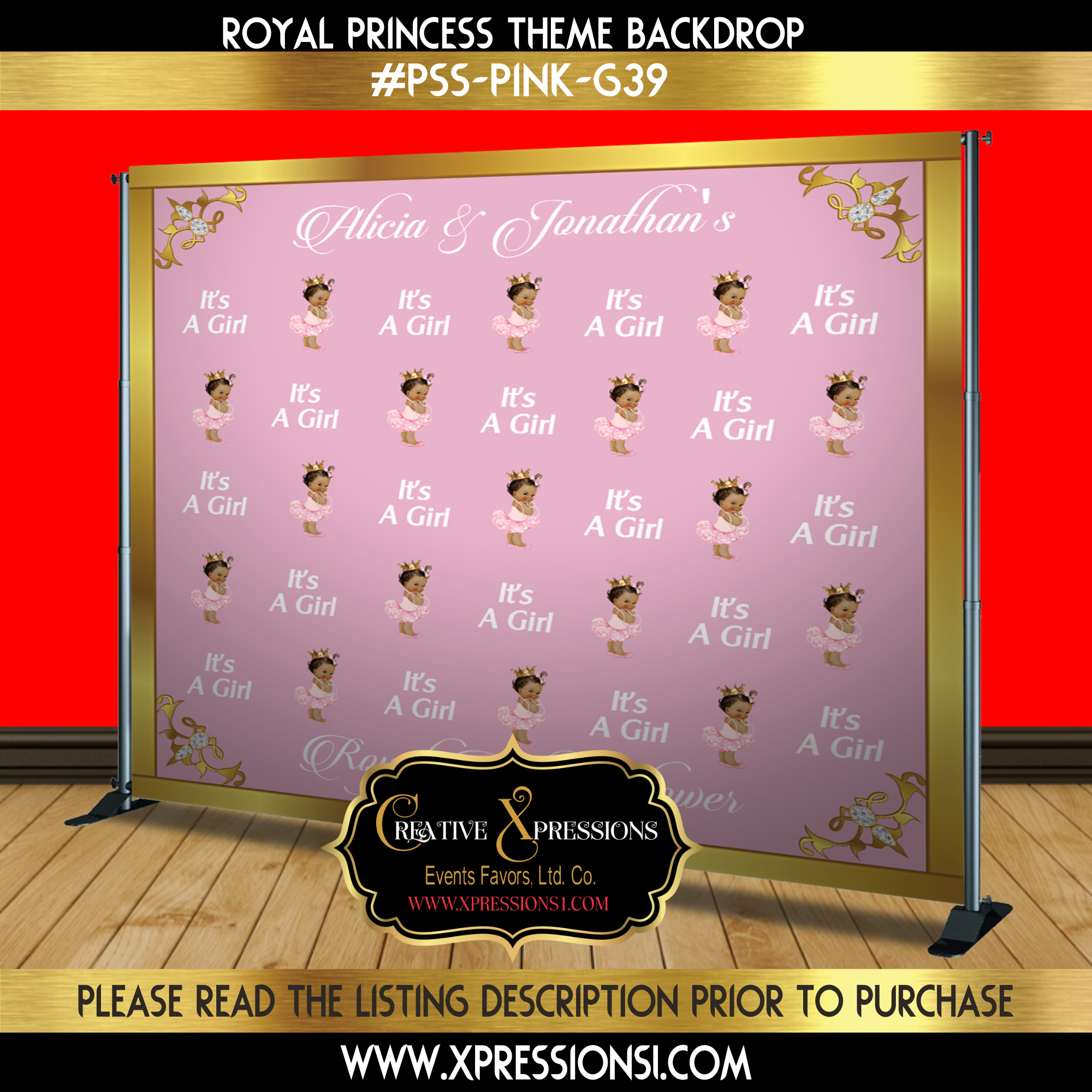 It's a Girl Step n Repeat Backdrop