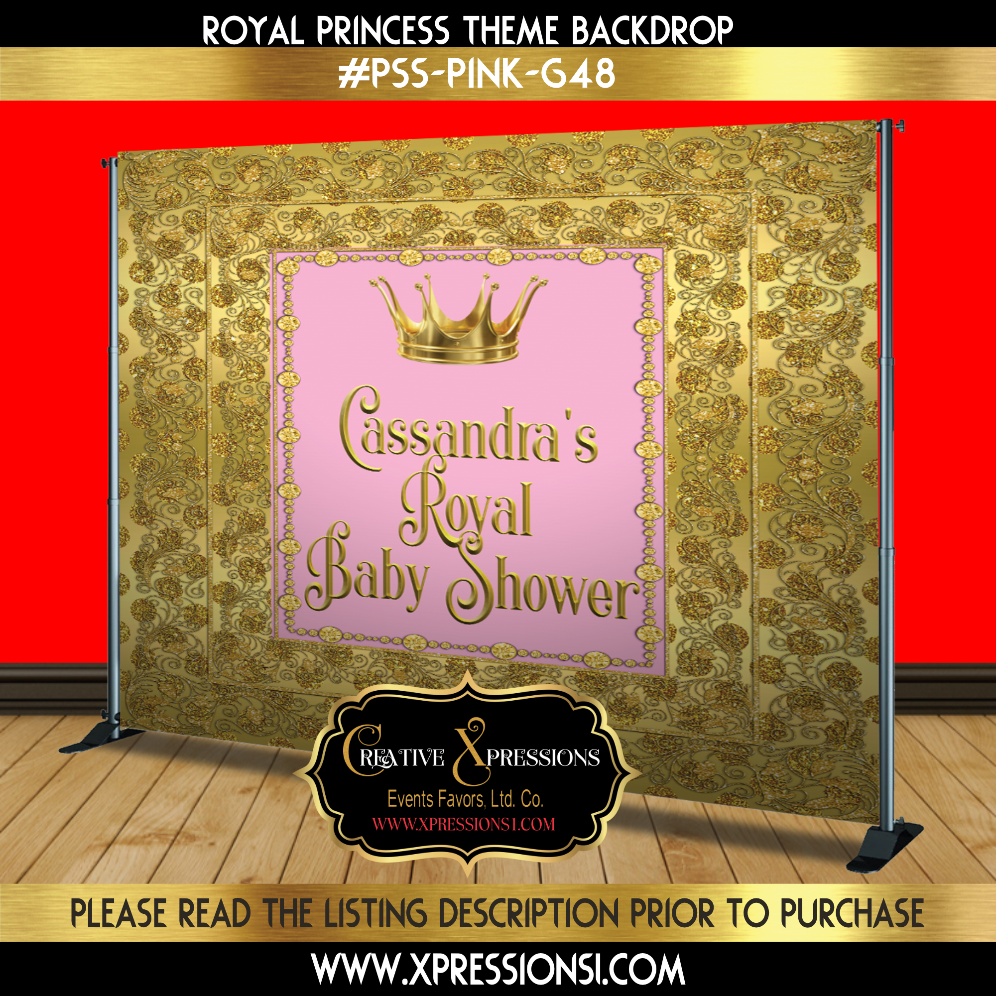 Golden Glamour Baby Shower Backdrop