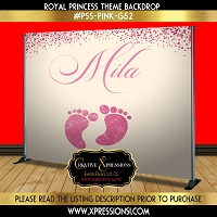Pink Glitter Footprint Backdrop