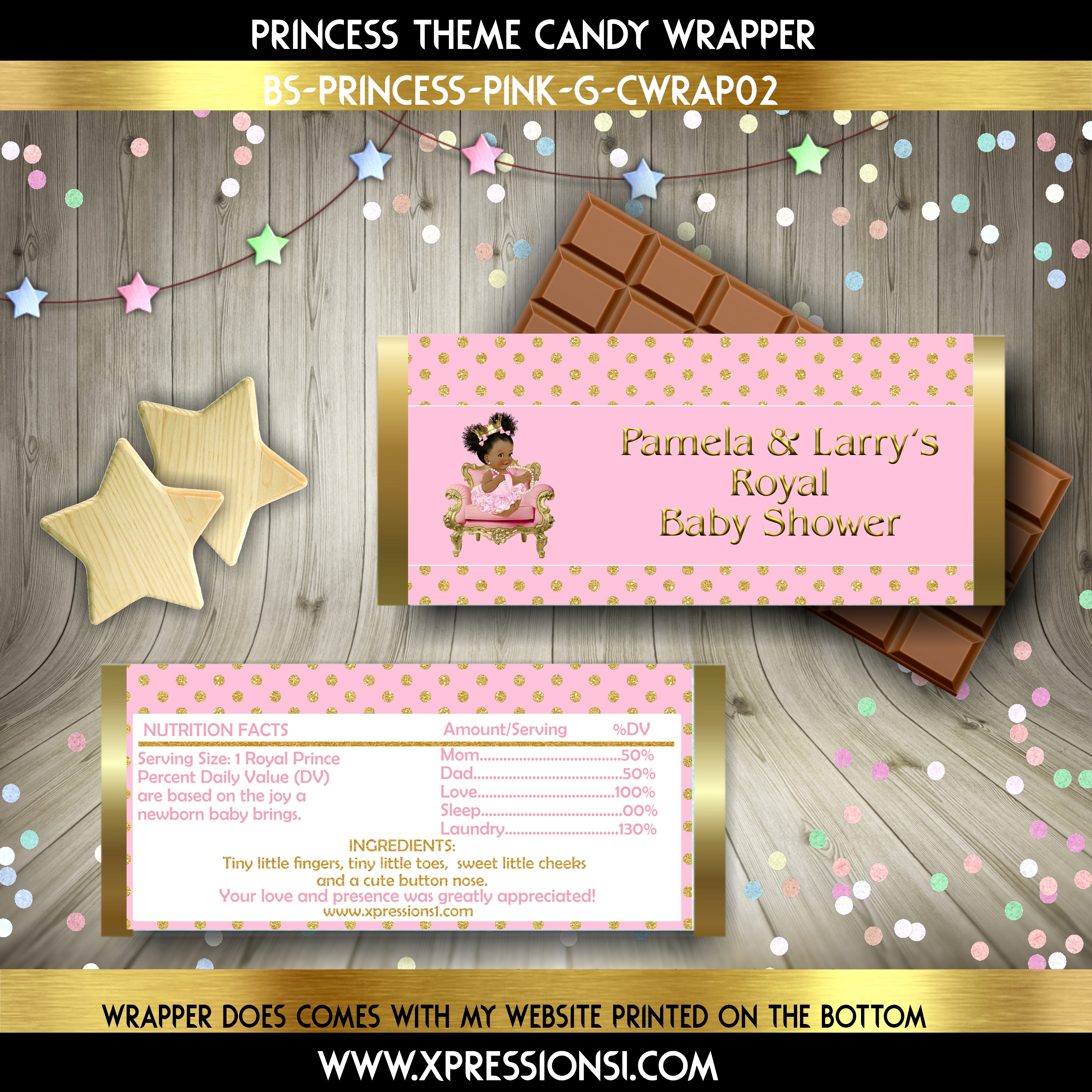 Gold Polka Dots Candy Wrapper