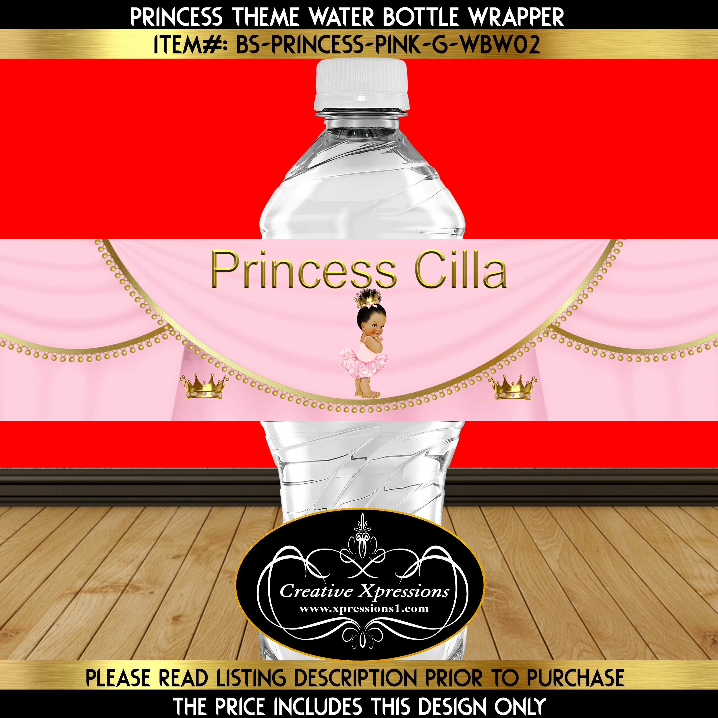 Ballerina Princess Water Bottle Wrapper