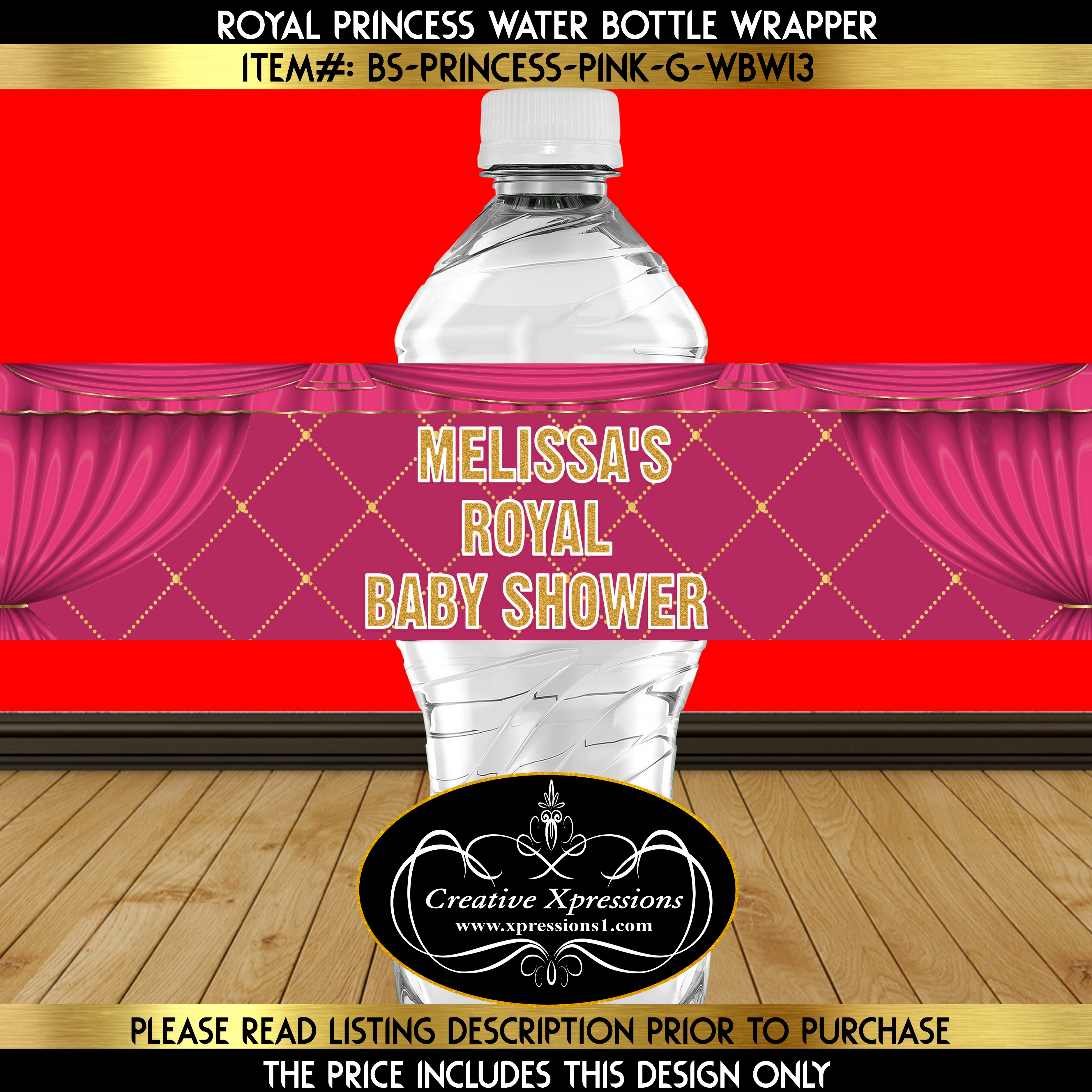 Hot Pink and Gold Water Bottle Wrapper