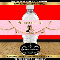 Princess on Gold Heels Water Bottle Wrapper