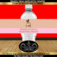 Gold Glitter Stripes on Pink Water Bottle Wrapper