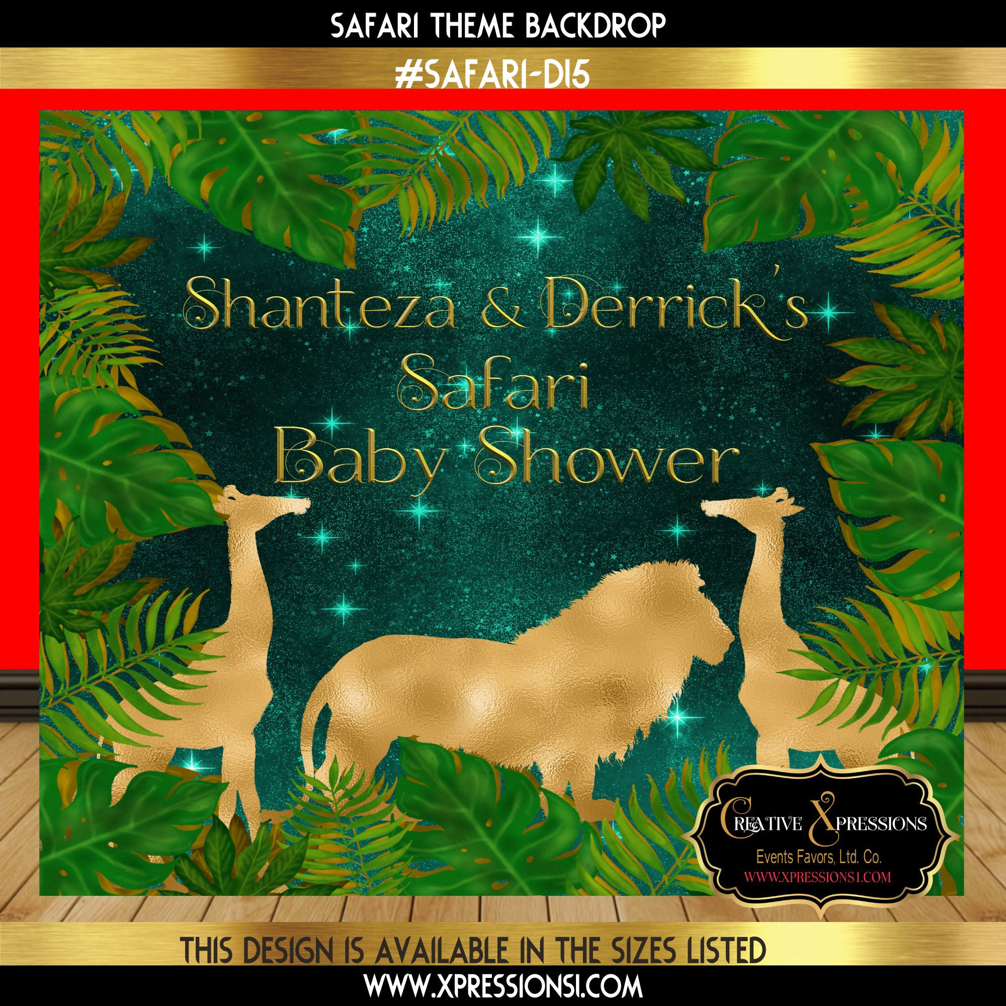 Safari Green Baby Shower Backdrop