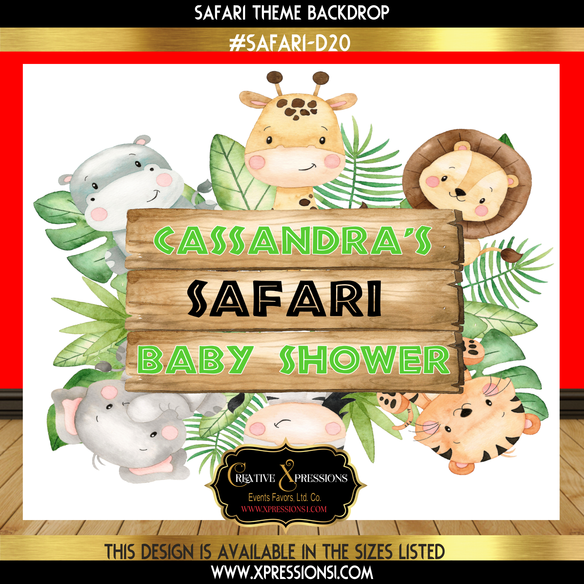 Safari Signage Board Baby Shower Backdrop