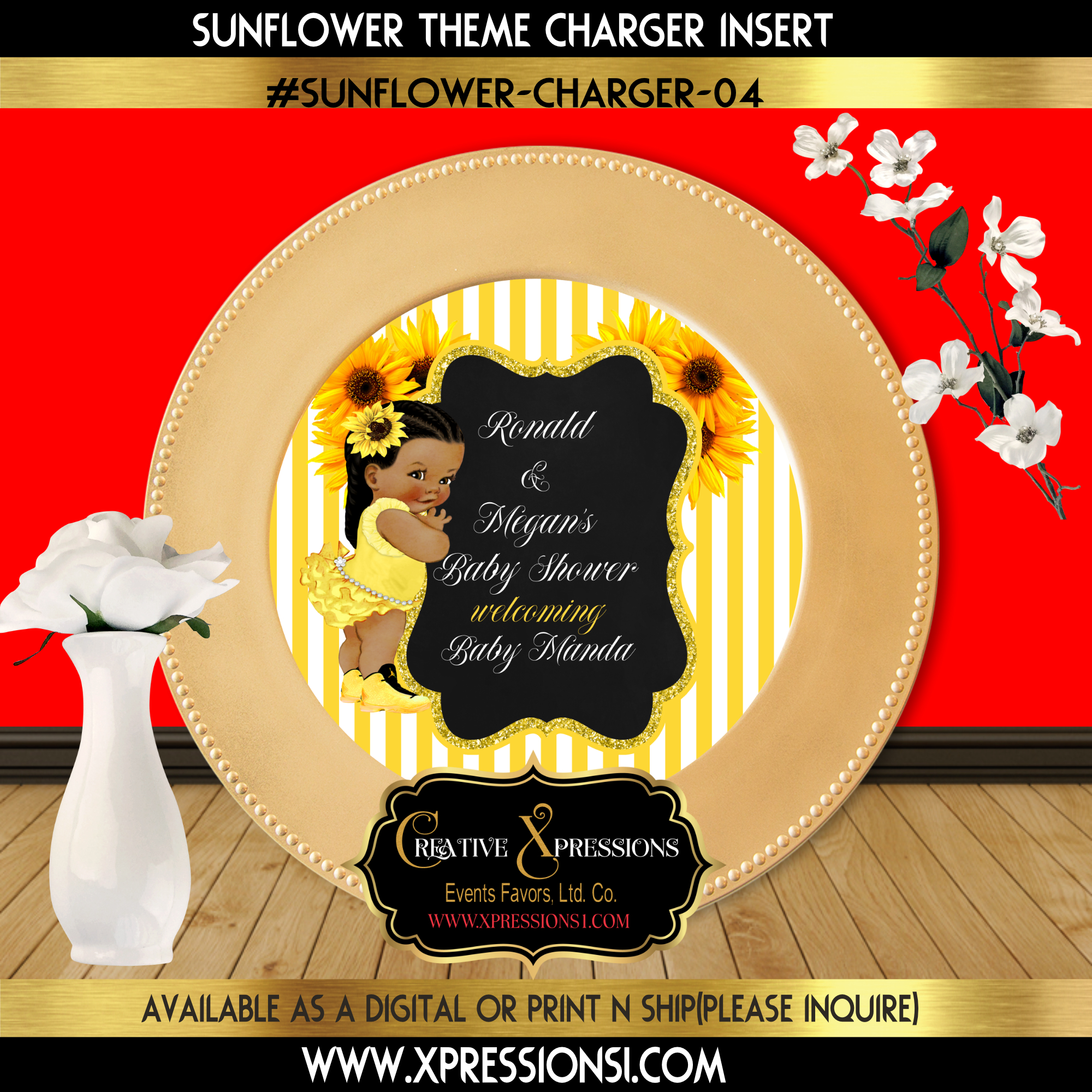 Yellow Stripes Sunflower Charger Insert