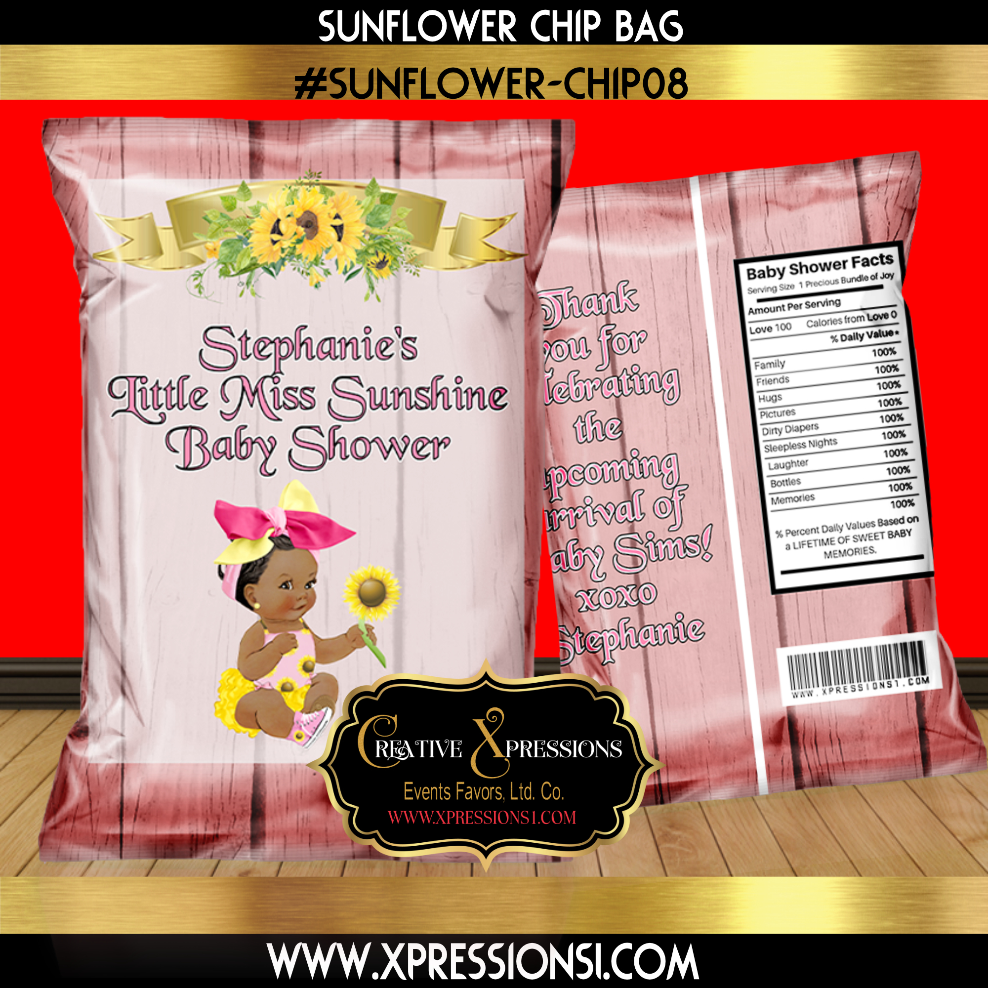 Sunflower Pink Chip Bag