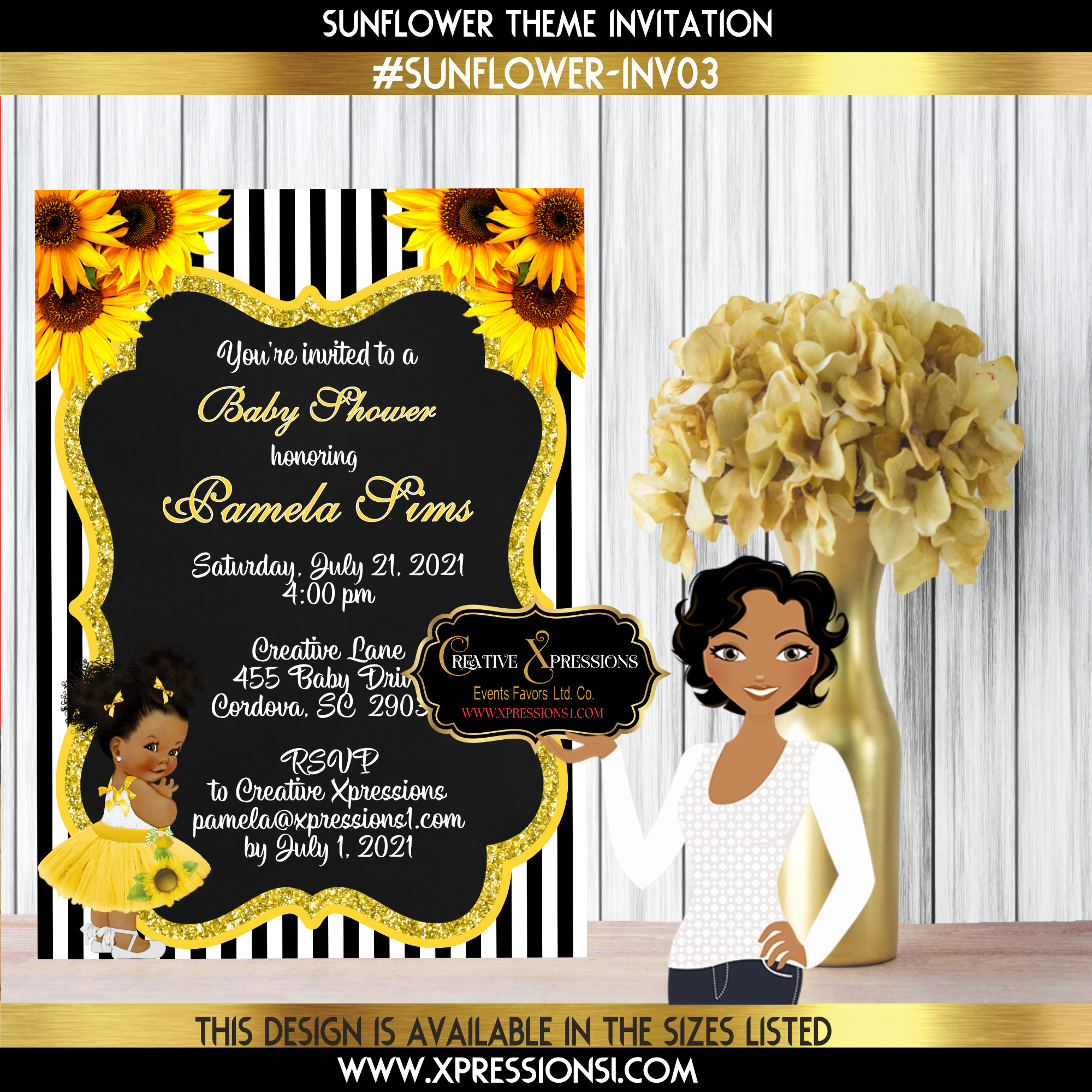 Black Stripes with Sunflowers Shower Invitation