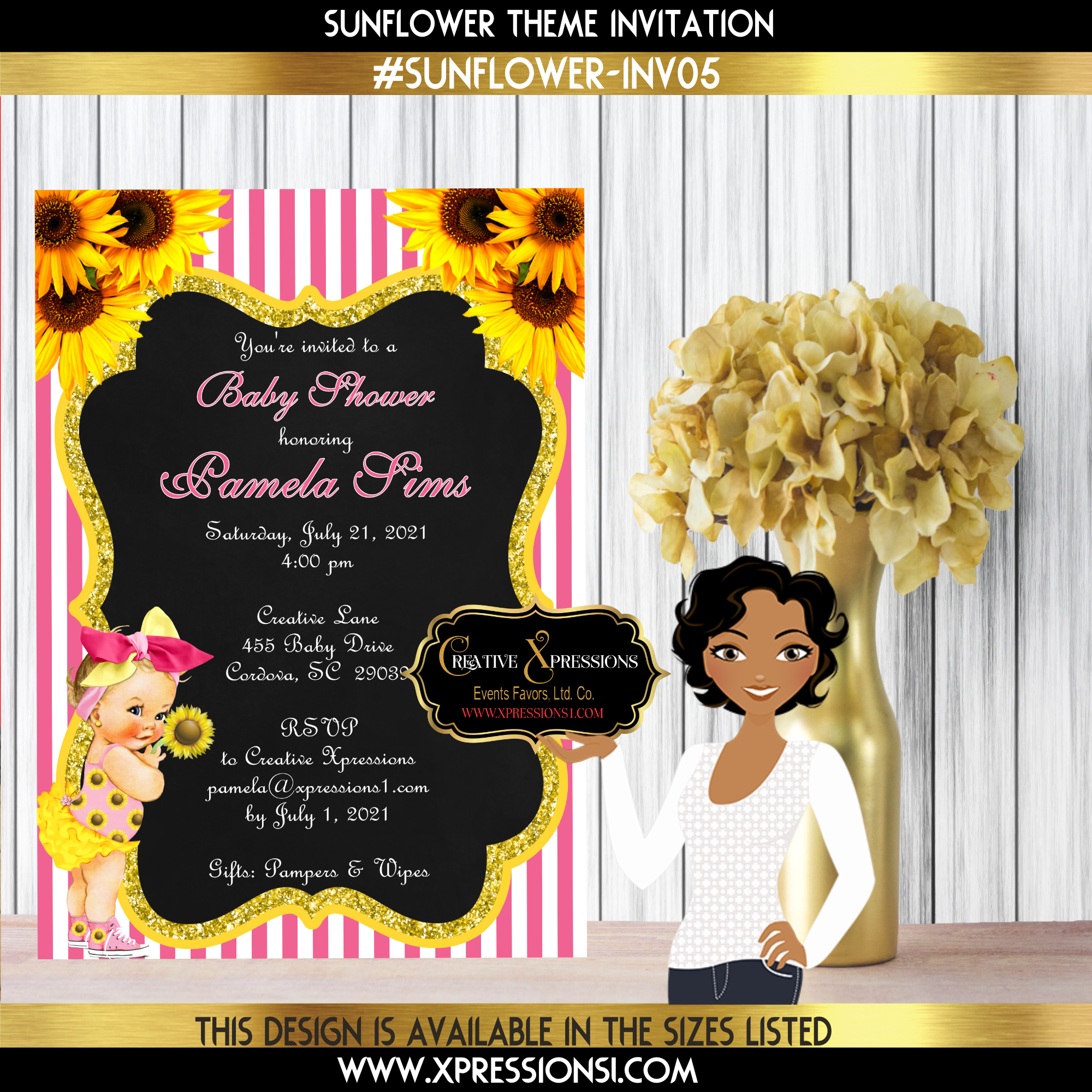 Pink Stripes Sunflower Baby Shower Invitation