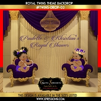 Royal Twins in Purple Baby Shower Backdrop