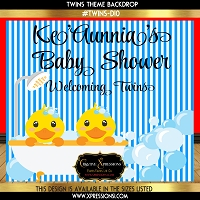 Twin Duckies Baby Shower Backdrop