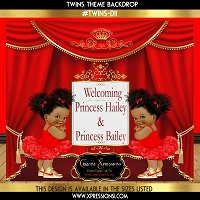 Twin Princesses Baby Shower Backdrop