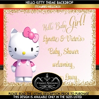 Pink and Gold Hello Kitty Backdrop