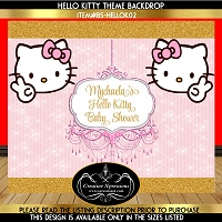 Hello Kitty Pink and Gold Backdrop