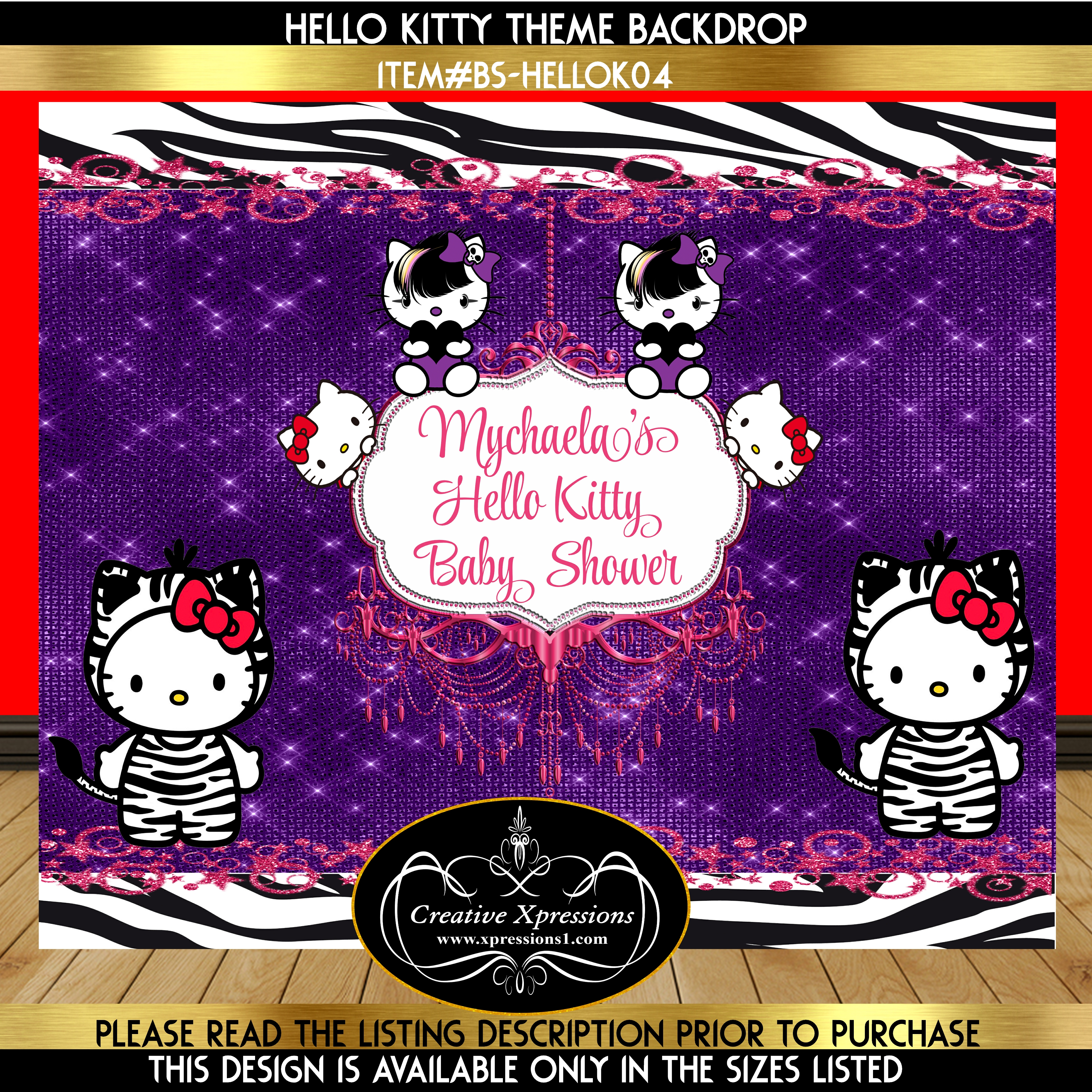 Hello Kitty Pink and Purple Backdrop