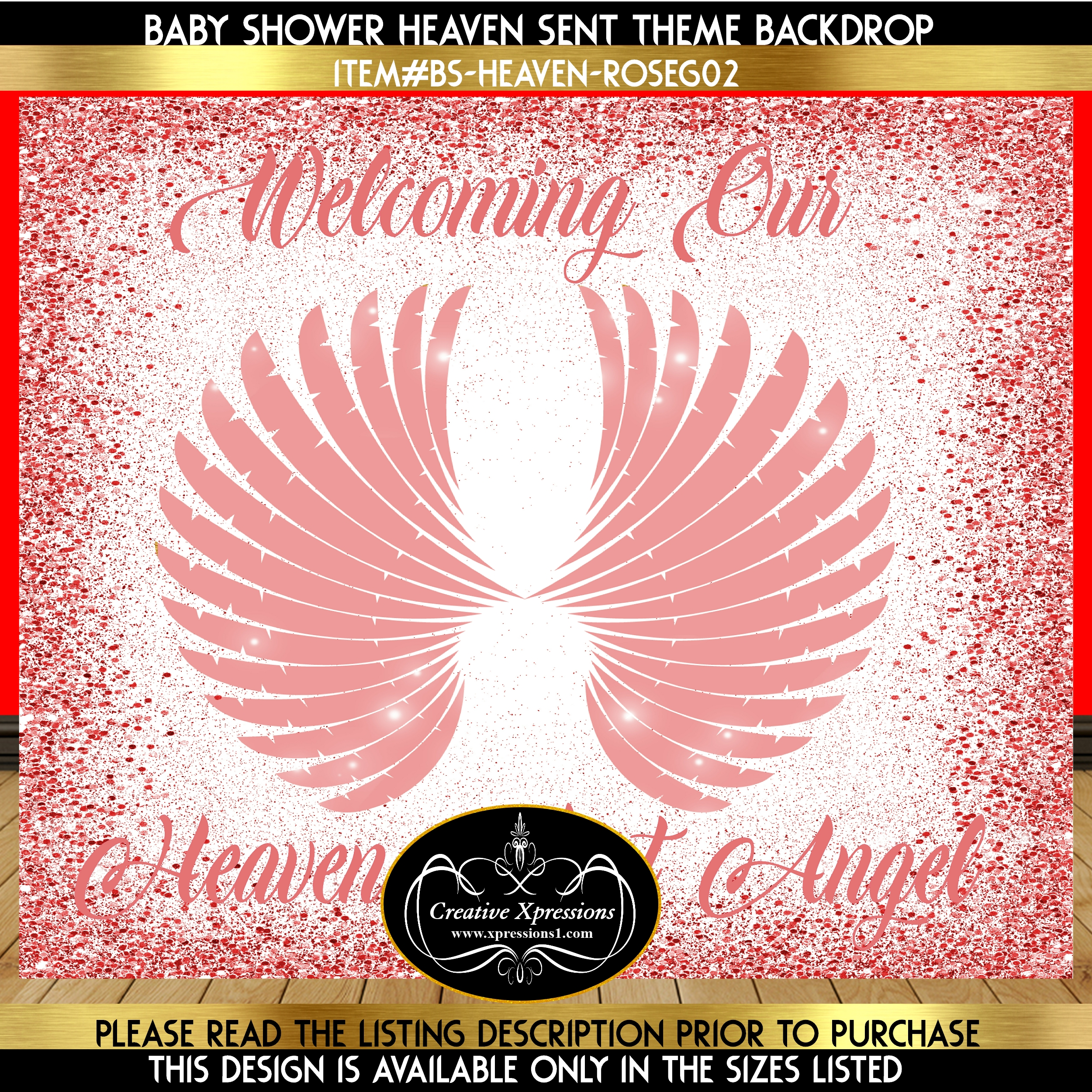Rose Gold Angel Wings Backdrop
