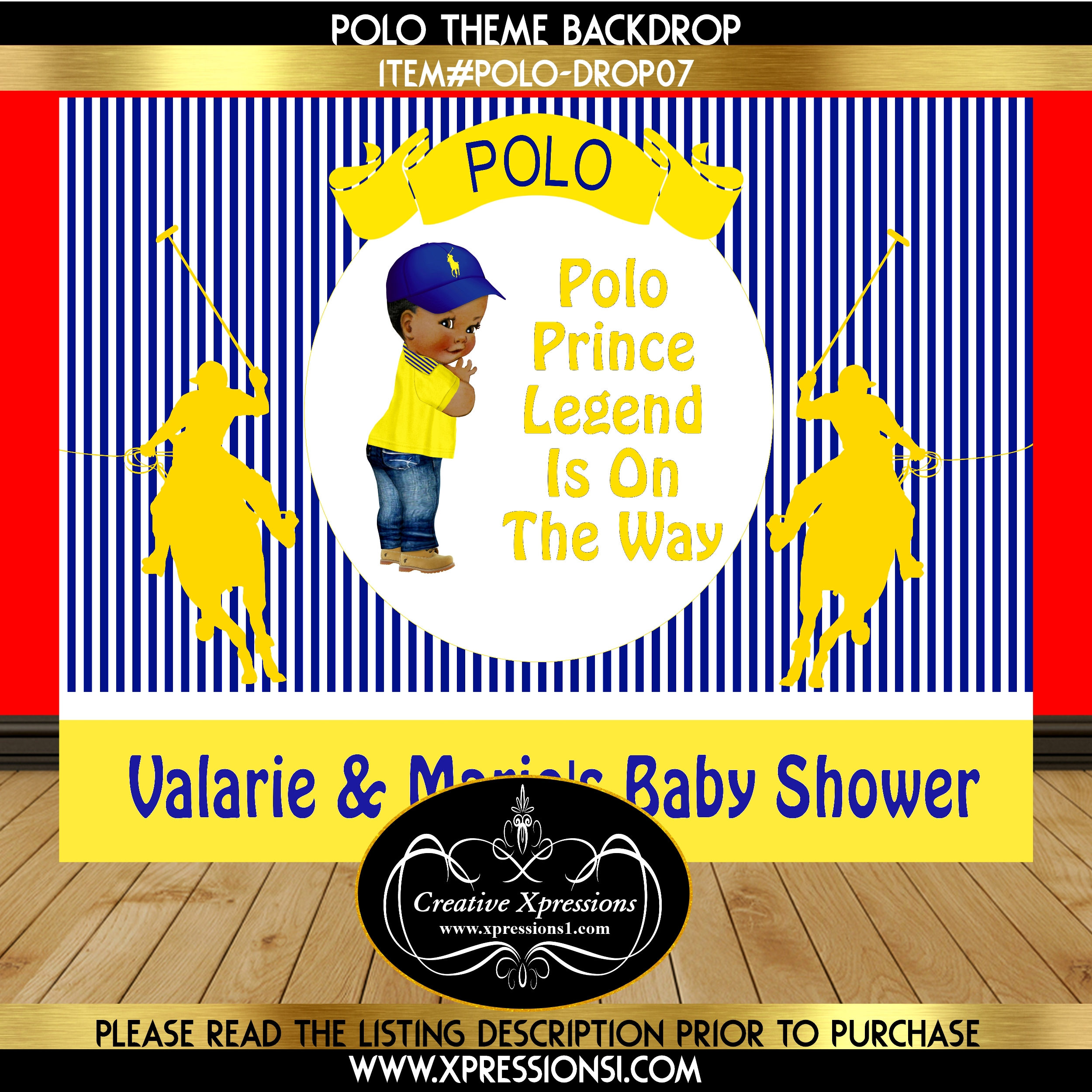Polo Denim Baby Shower Backdrop