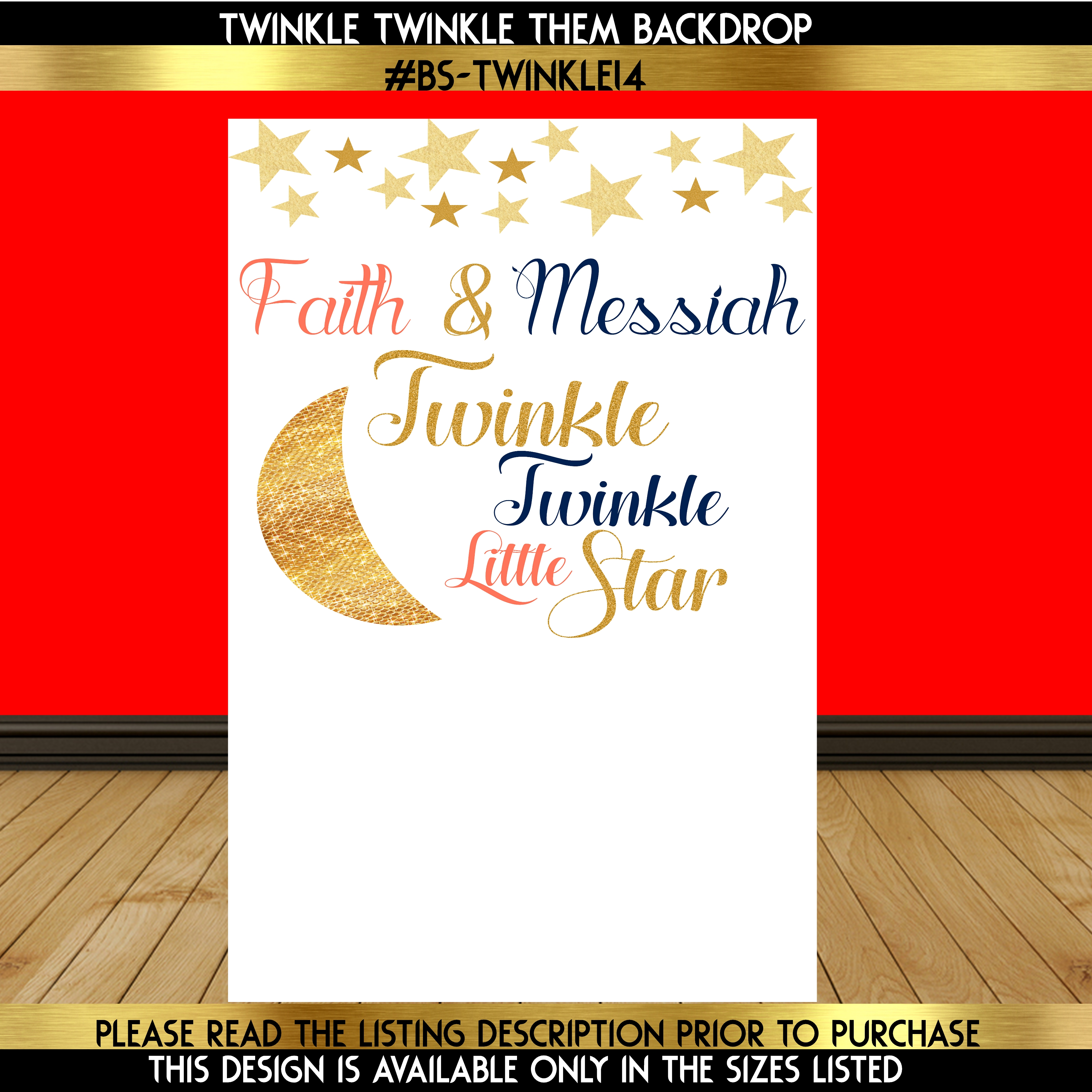 Twinkle Twinkle on with Gold Moon Backdrop