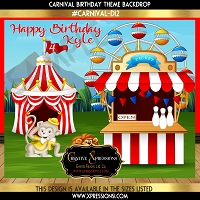 Carnival and Games Day Birthday Backdrop