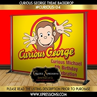 Curious George Birthday Backdrop