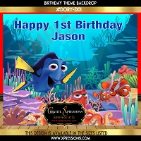 Sea Dory Birthday Backdrop