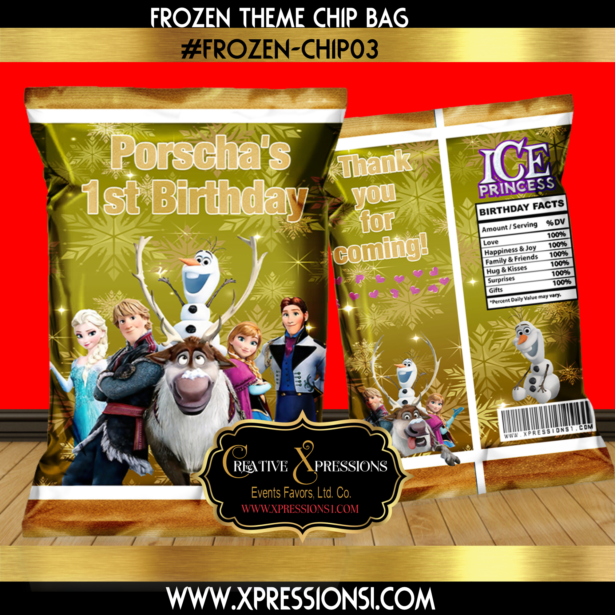 Frozen Gold Chip Bag