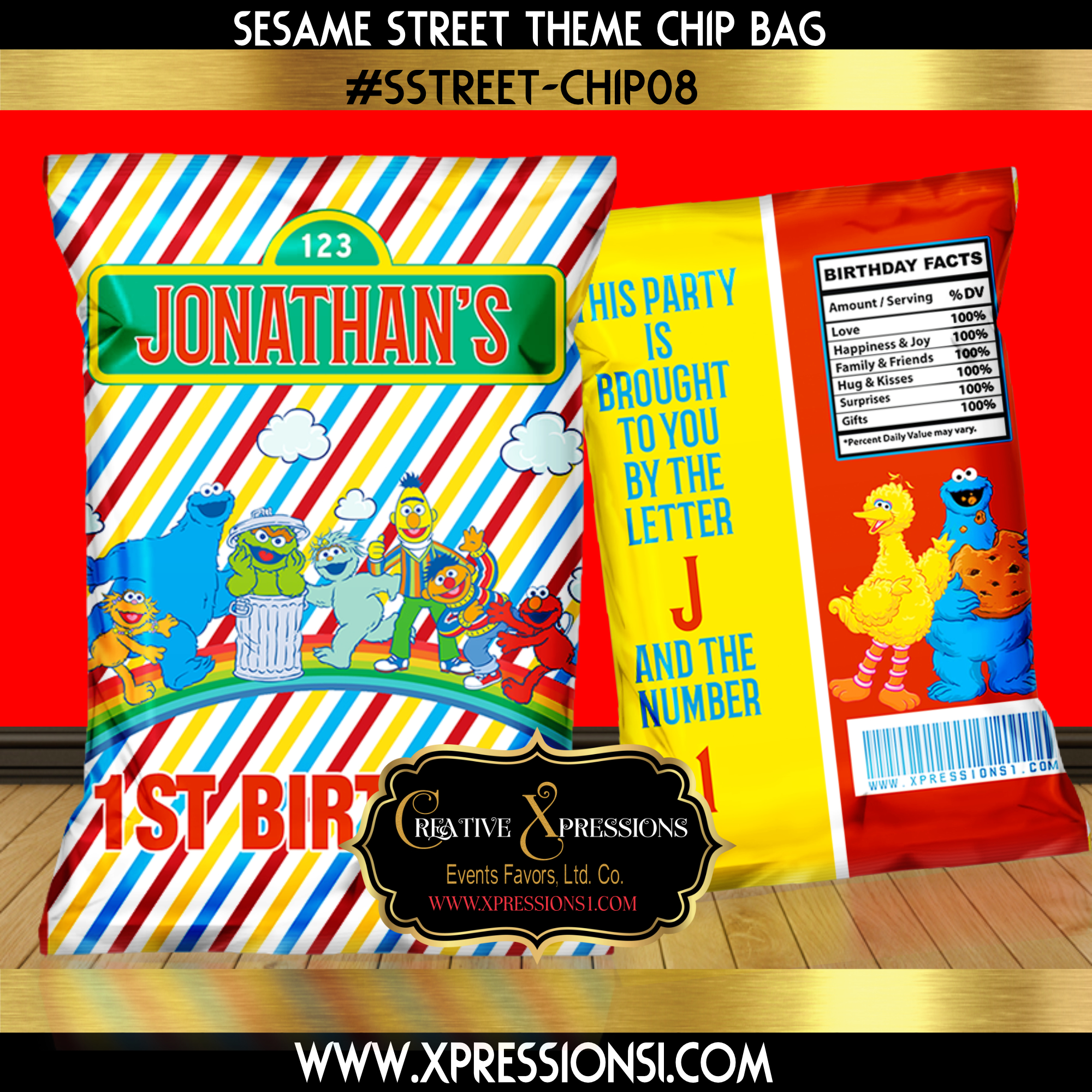 Sesame Street Stripes Chip Bag