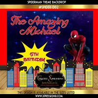 Spidey on the Building Birthday Backdrop