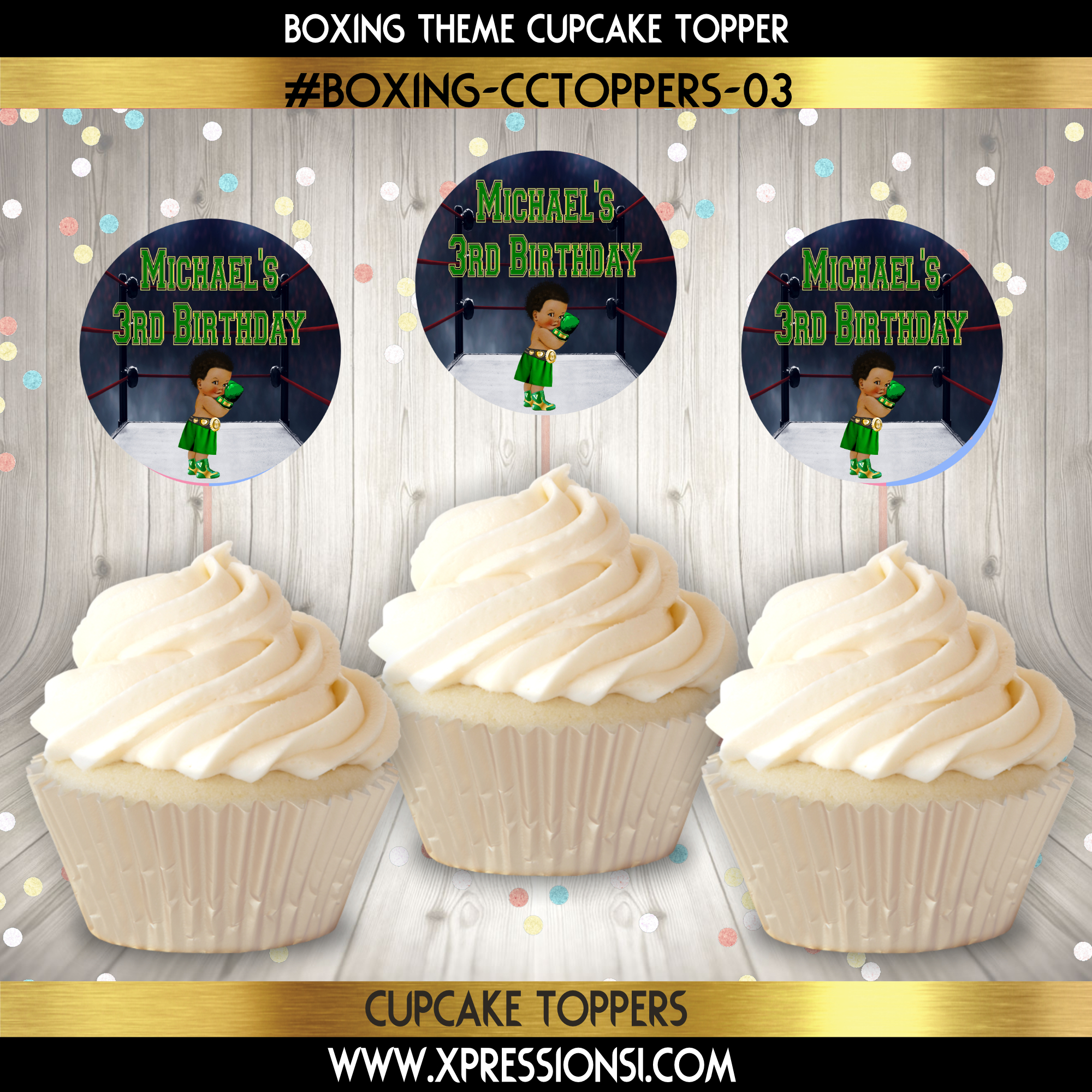 Boxer in Green Cupcake Topper