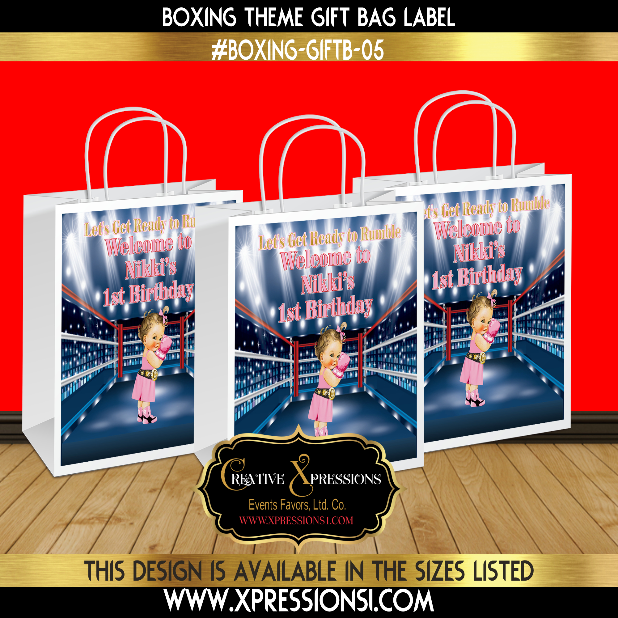 Pink and Gold Boxing Gift Bag