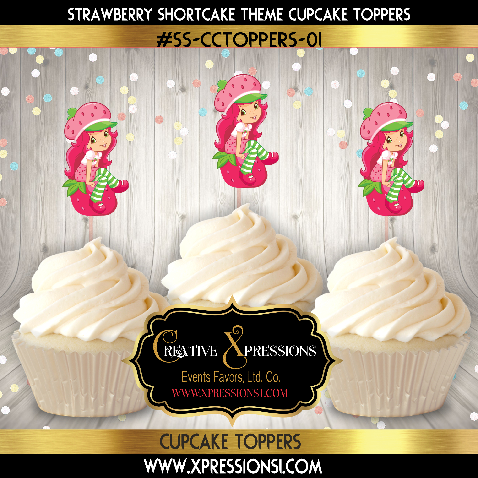 Strawberry Girl Cupcake Topper