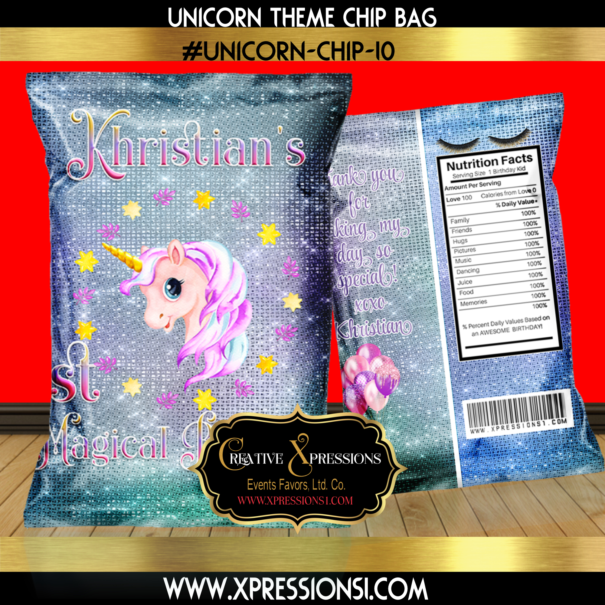 Unicorn Shimmer Birthday Chip Bag